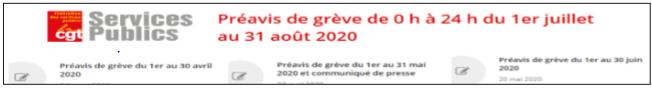 Préavis de grève juillet aout 2020 CGT