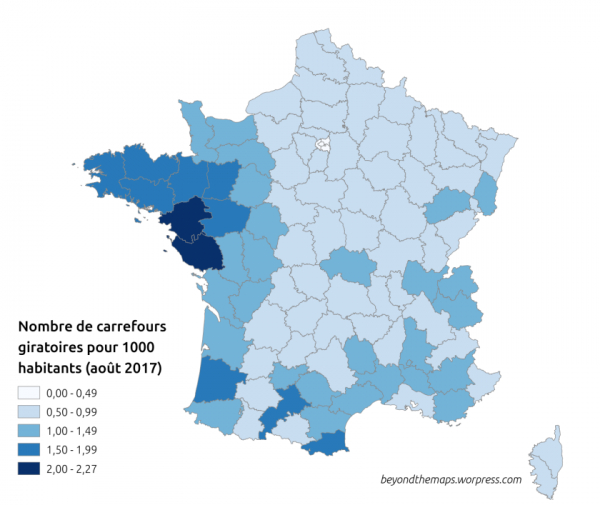 Les 5 départements avec le plus de ronds-points en France